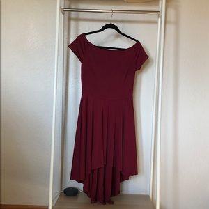 Dresses & Skirts - Burgundy High Low Off the Shoulder Dress